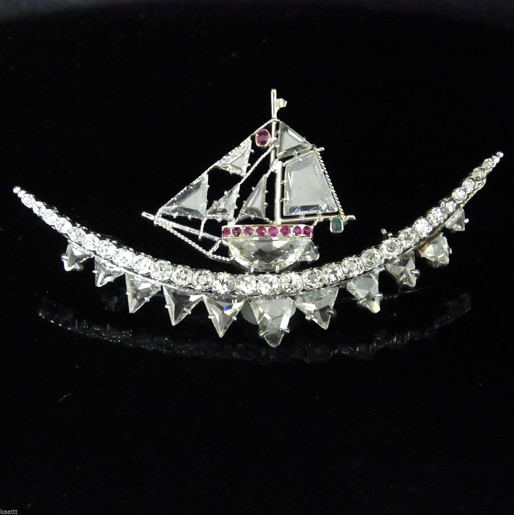 Art Deco Diamond platinum Ship Brooch