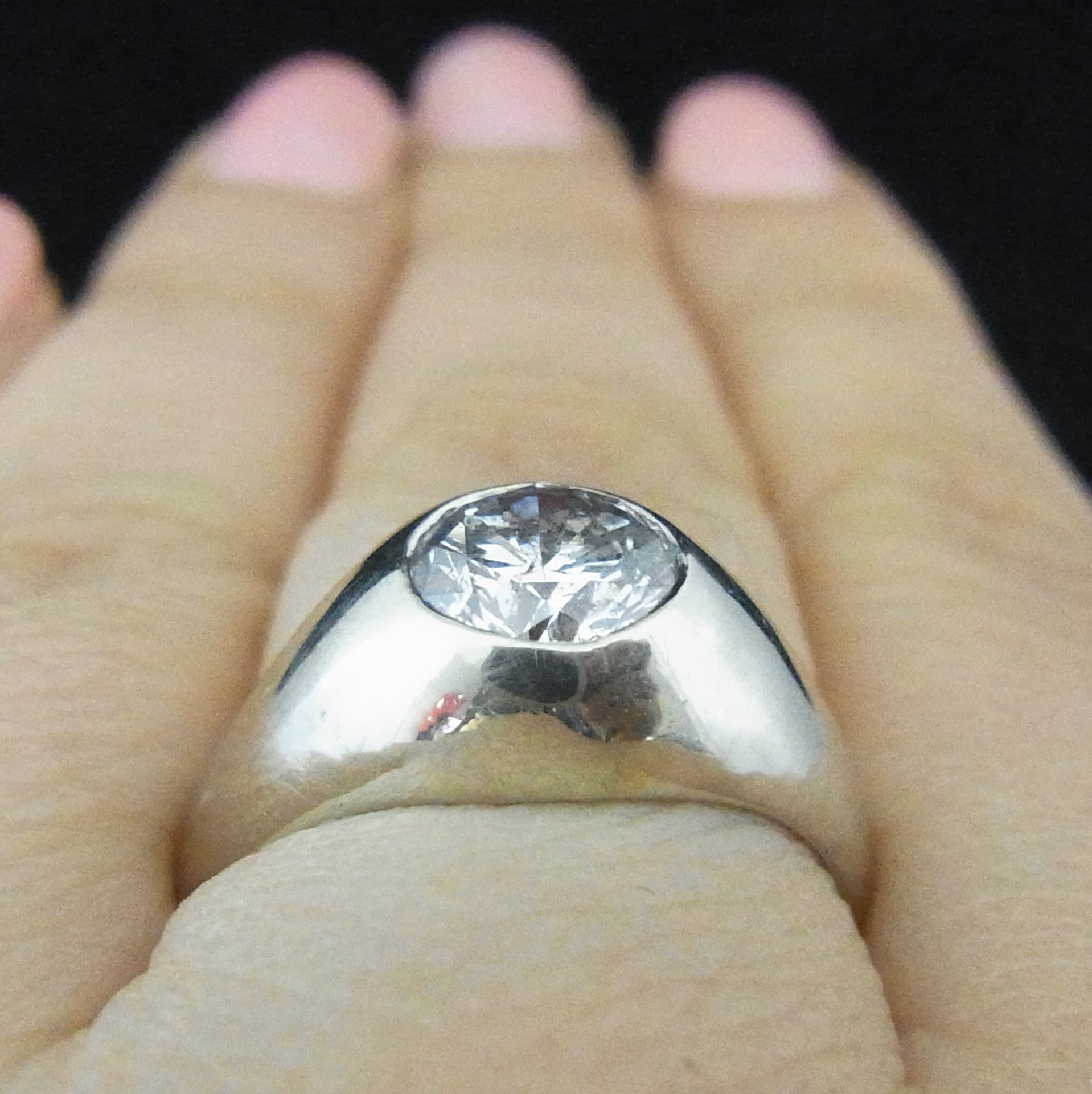 125 Carat FSI3 Diamond 14k White Gold Gypsy Ring Vintage Certified