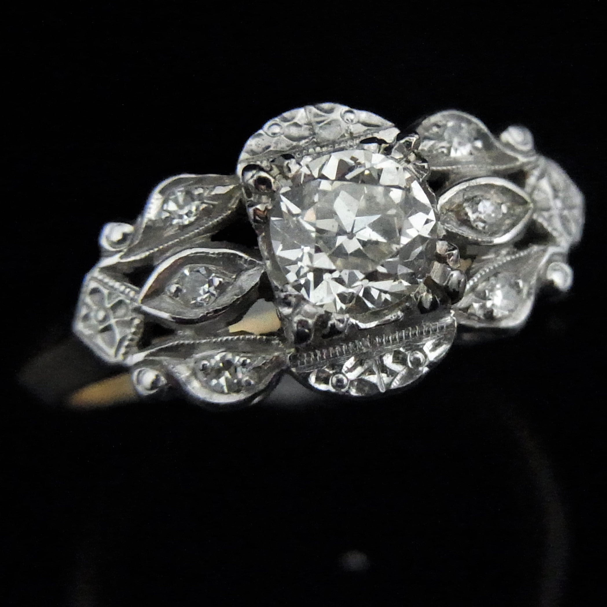 with engagement daimond pave diamond uneek shaped halo and rings round triple product platinum in ring shank cushion