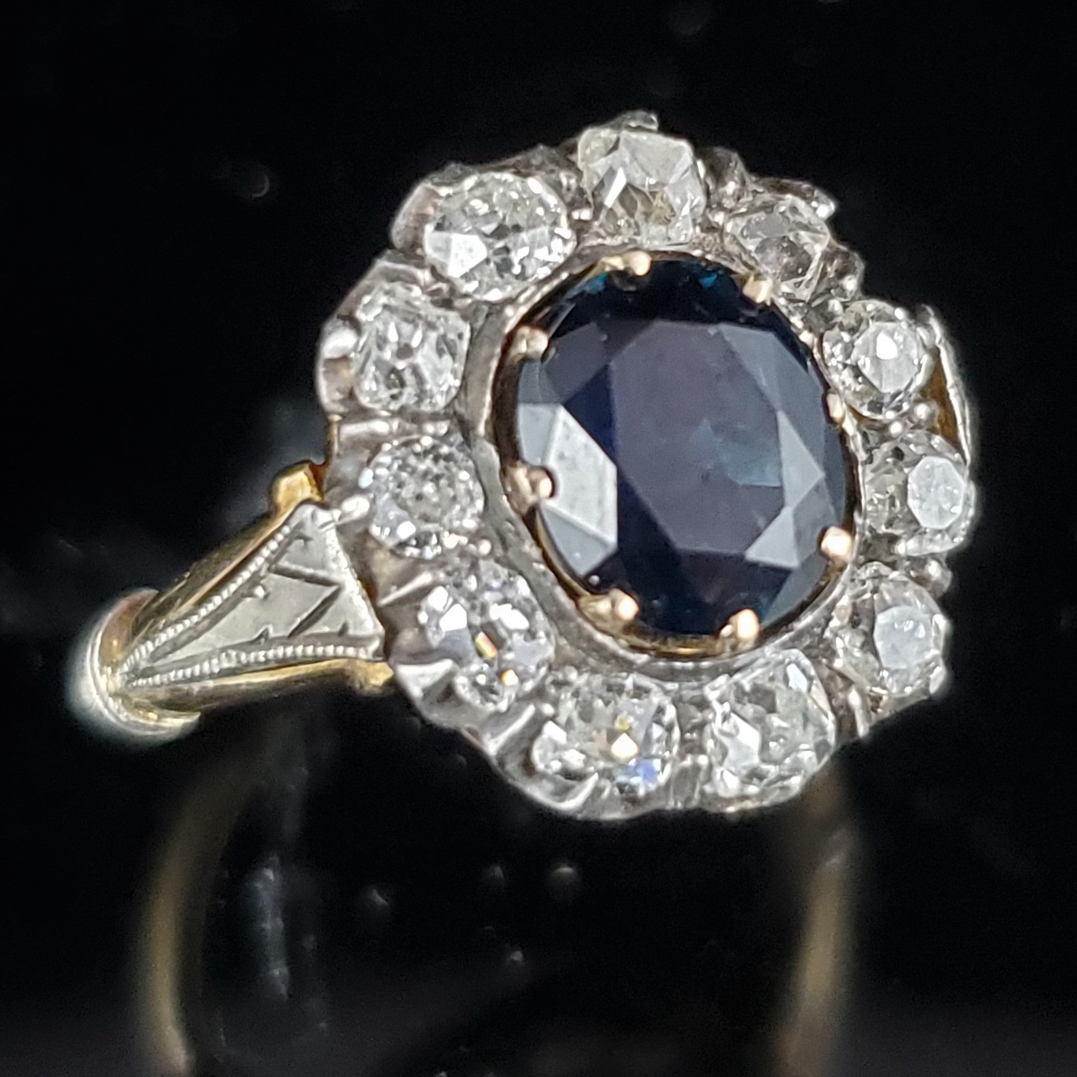 0f665e837b88d The Madison - Edwardian No Heat Sapphire Old Cut Diamonds 18k Gold Ring GIA  Report Included
