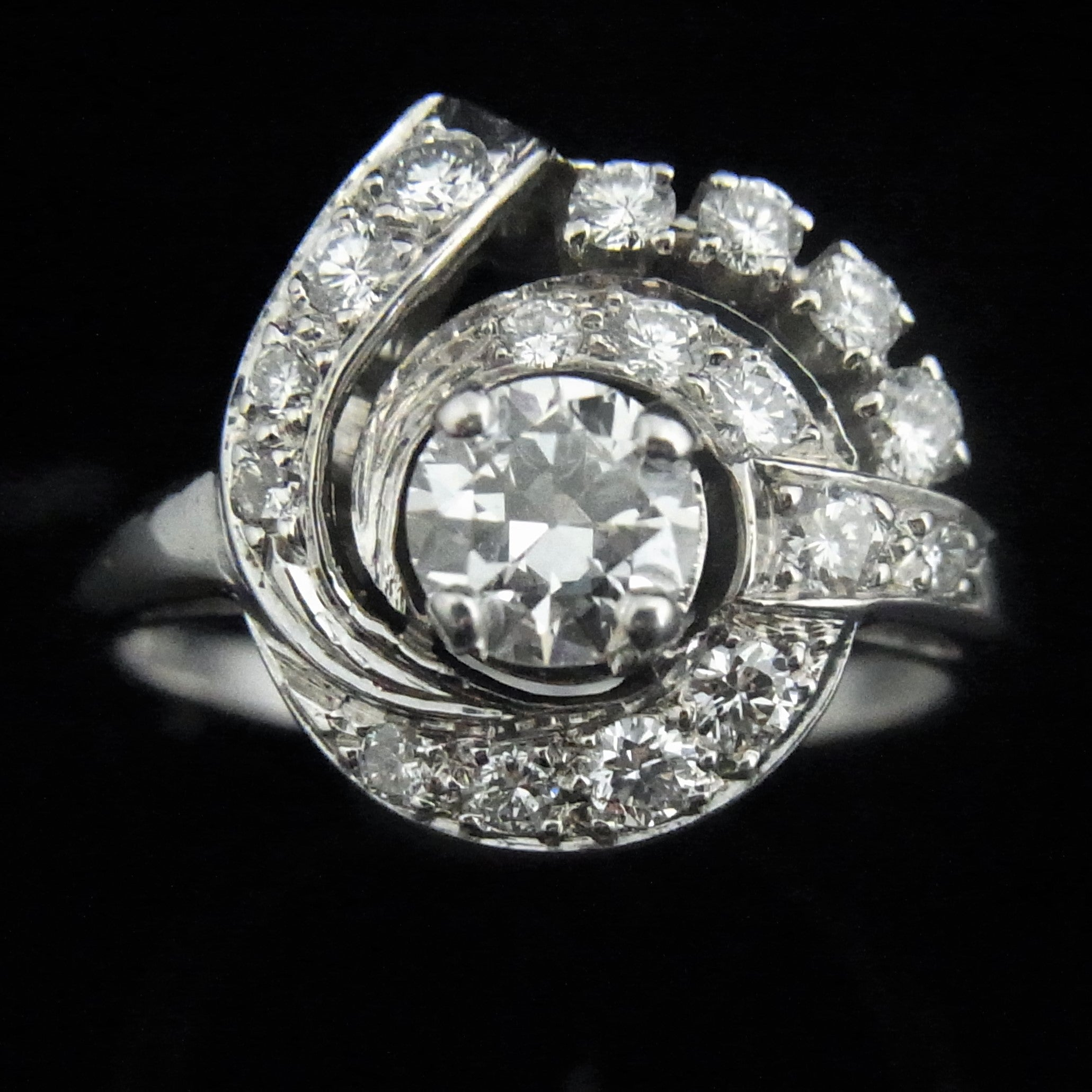 diamond baguettes estate with platinum ring upon once products flower a in