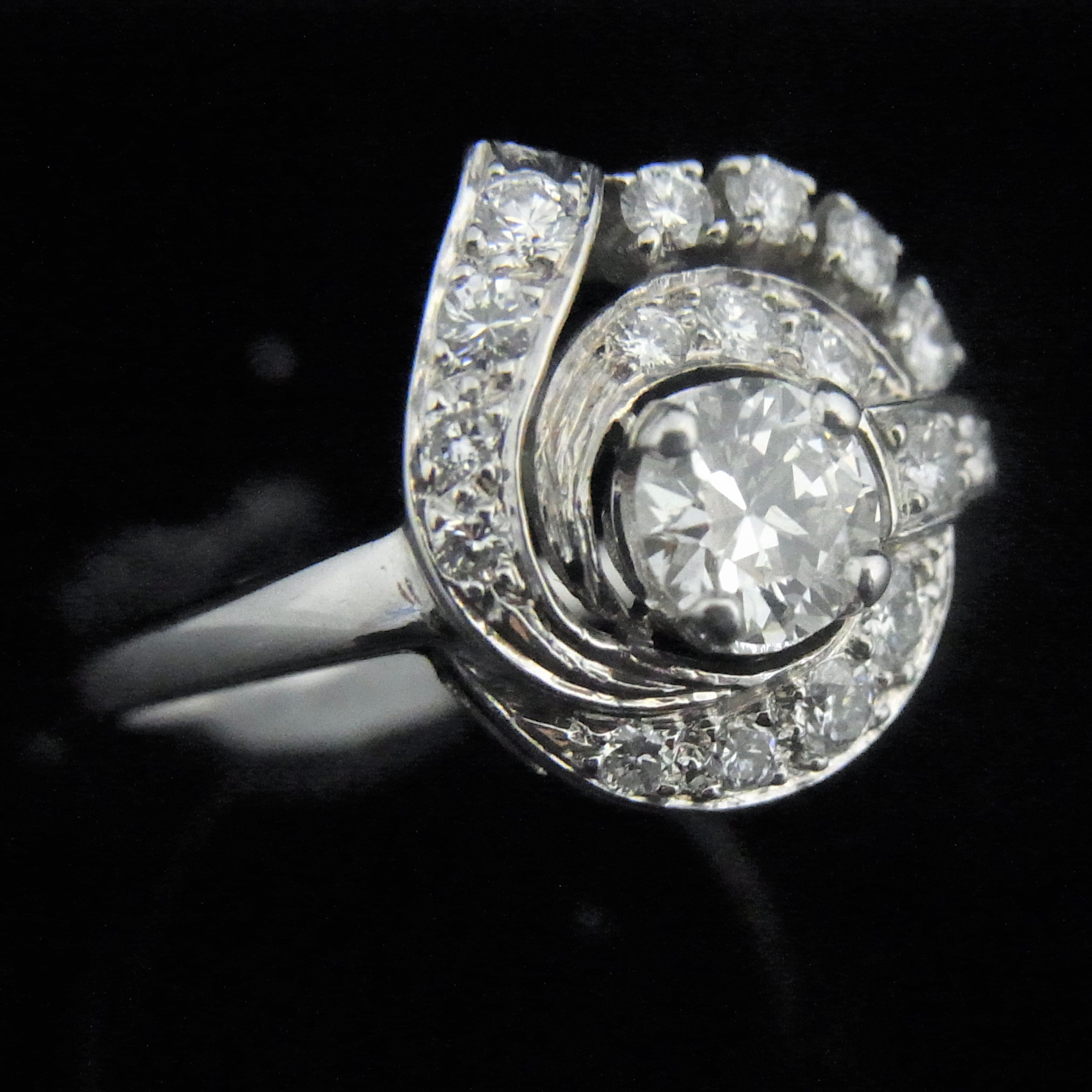 a flower platinum in diamond upon products estate with baguettes ring once