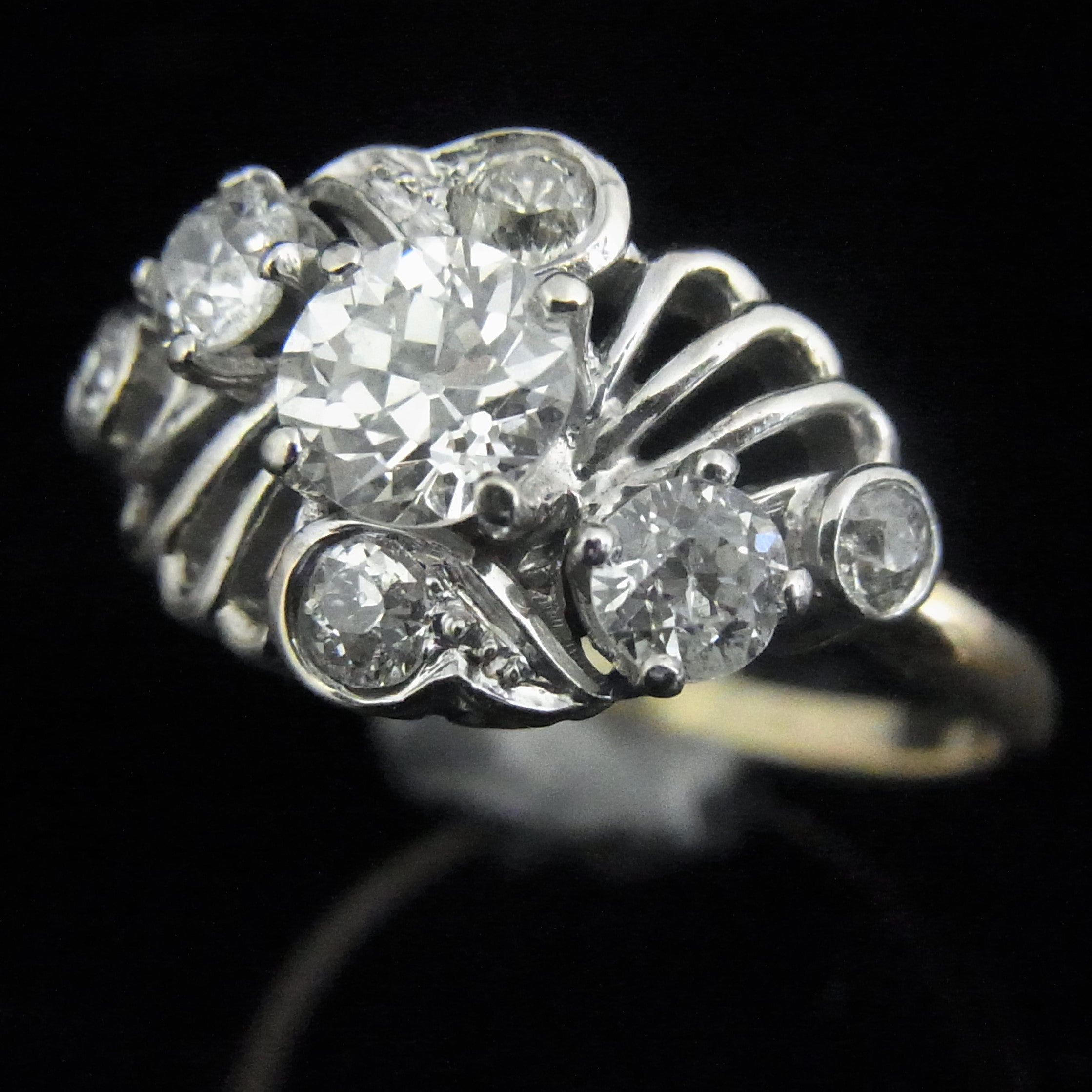 pin diamond old engagement european ring rings art vintage white gold jewellery cut deco