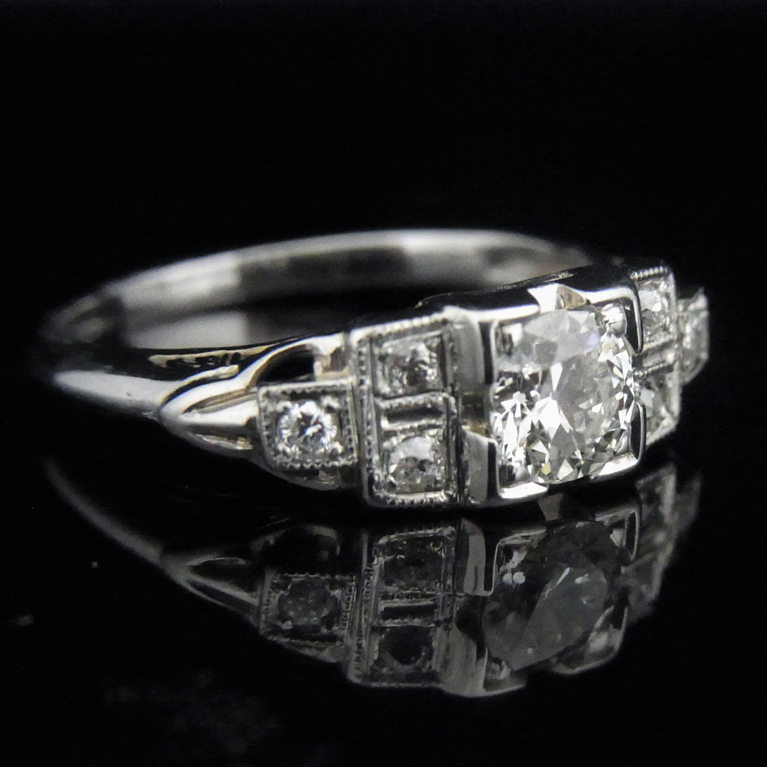 engagement jewellery vintage ring with pin art set cut deco old diamond rings a mine