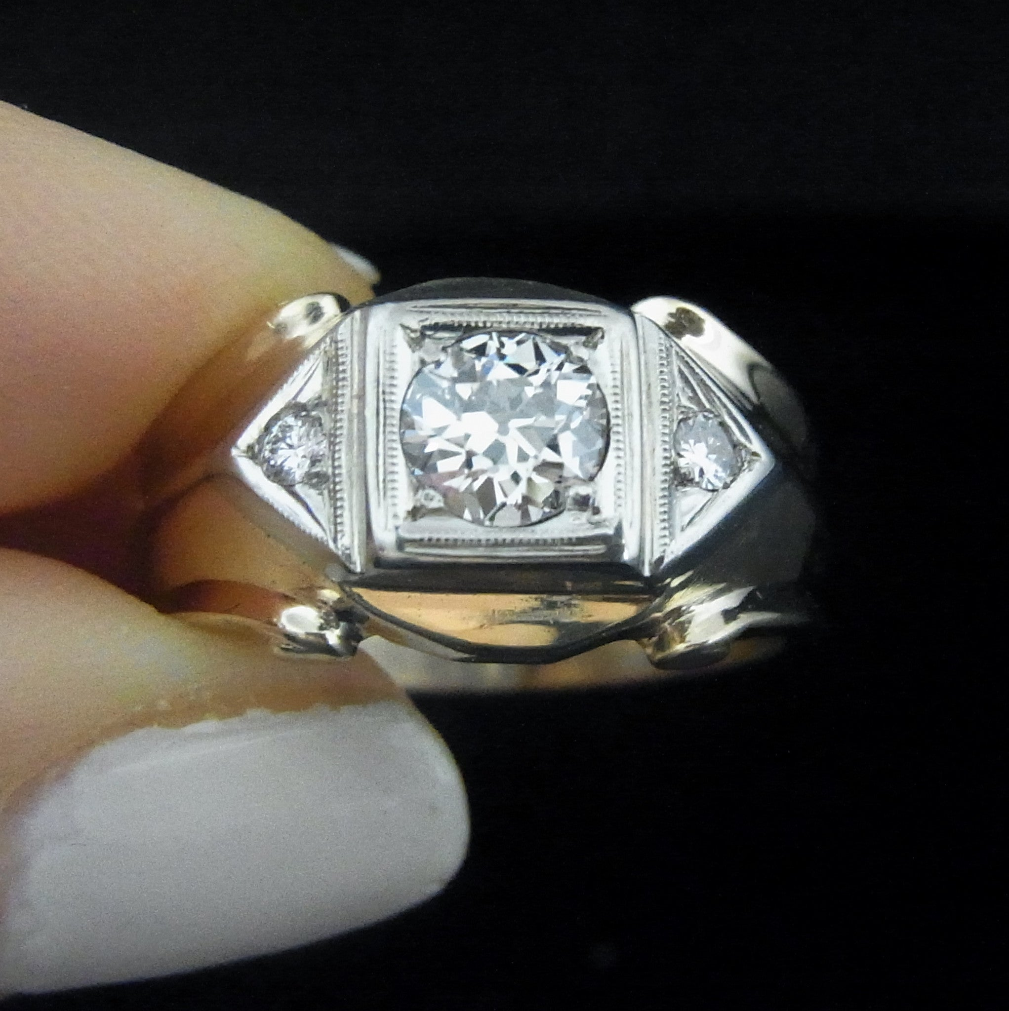 Men s Antique 73ct VS2 F Old European Cut Diamond Ring 14k Gold