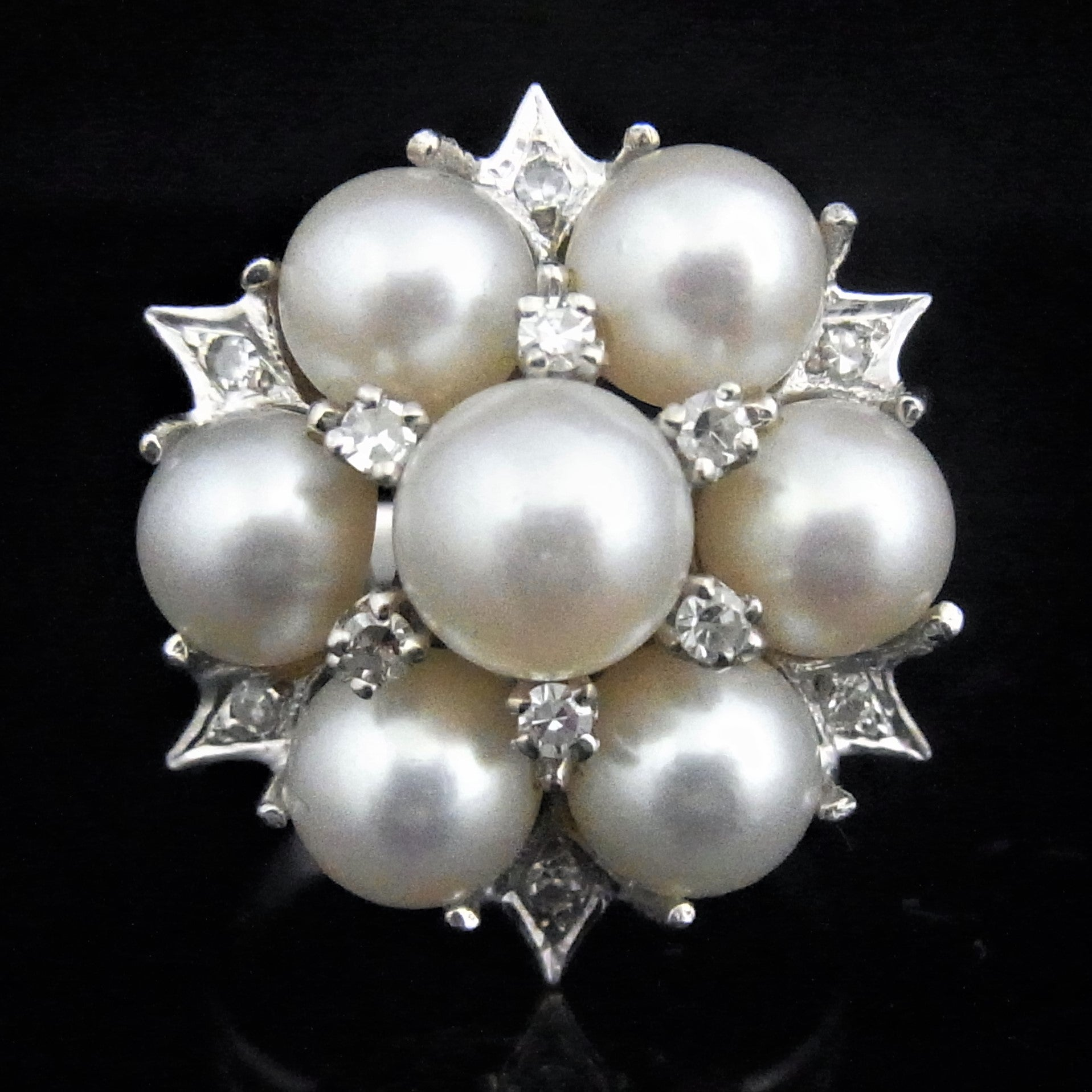 9bae20e0d Vintage Diamond Pearl Cocktail Ring 14k White Gold Snowflake Retro Estate  c1950s Snowflake Flower sohojewelers ...