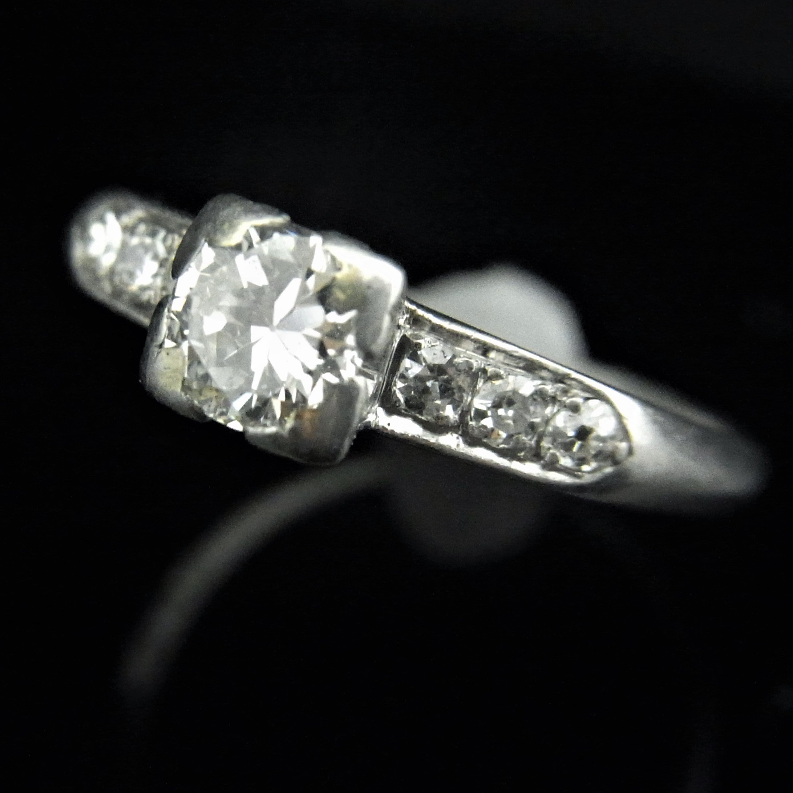 C1930s Transition Cut Diamond Platinum Engagement Ring