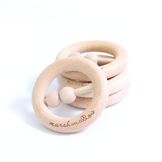 Teether Wooden Handy Rattle