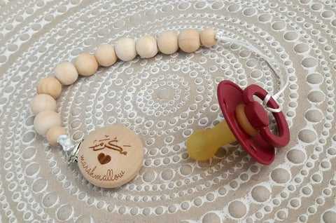 Teether Pacifier Basic Wooden Chain