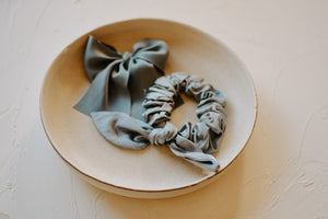 Hand-dyed silk scrunchie | Slate Blue