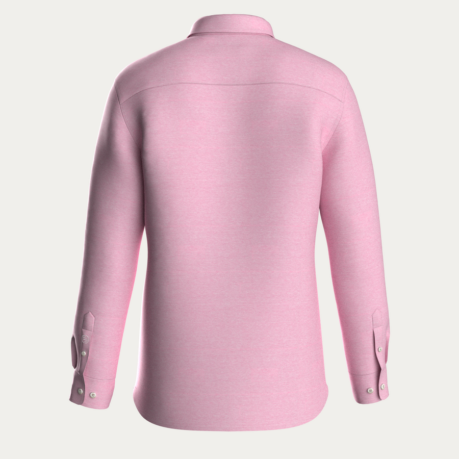 LONG SLEEVE NATURAL PERFORMANCE KNIT BUTTON DOWN SHIRT - PINK MELANGE