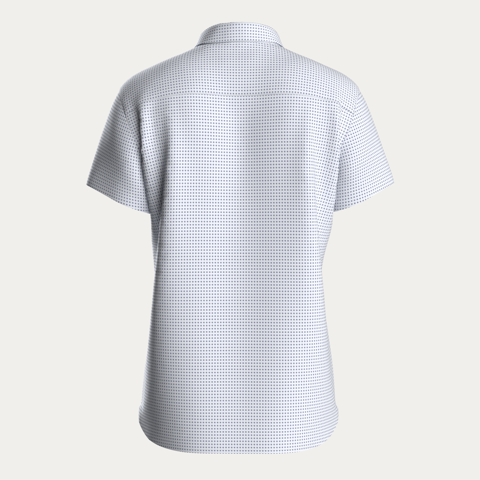 SHORT SLEEVE NATURAL PERFORMANCE KNIT BUTTON DOWN SHIRT - WHITE MICRO PRINT