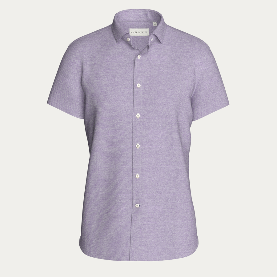 SHORT SLEEVE NATURAL PERFORMANCE KNIT BUTTON DOWN SHIRT - LAVENDER