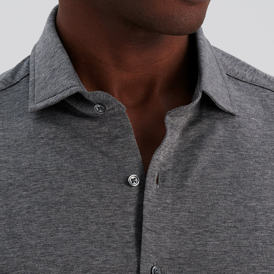 LONG SLEEVE NATURAL PERFORMANCE KNIT BUTTON DOWN SHIRT - GREY