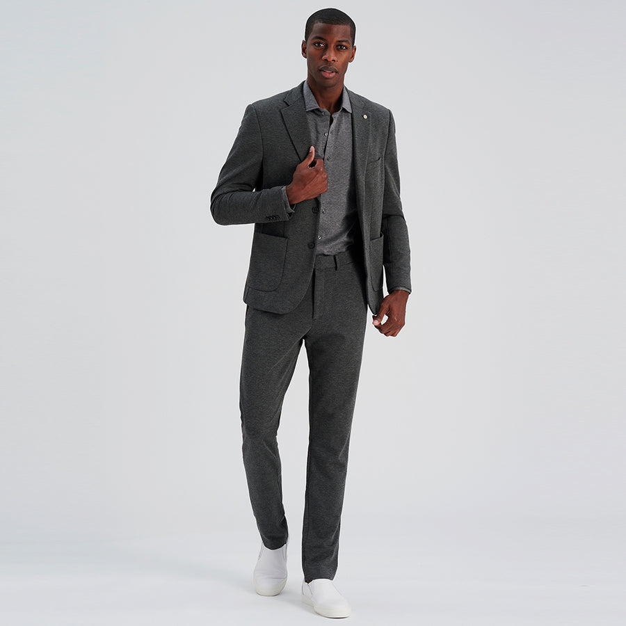 NATURAL PERFORMANCE KNIT STRETCH BLAZER - Charcoal Heather