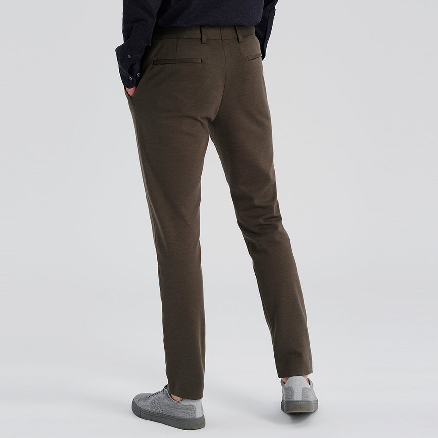 COTTON BLEND NATURAL PERFORMANCE KNIT STRETCH PANT - Olive