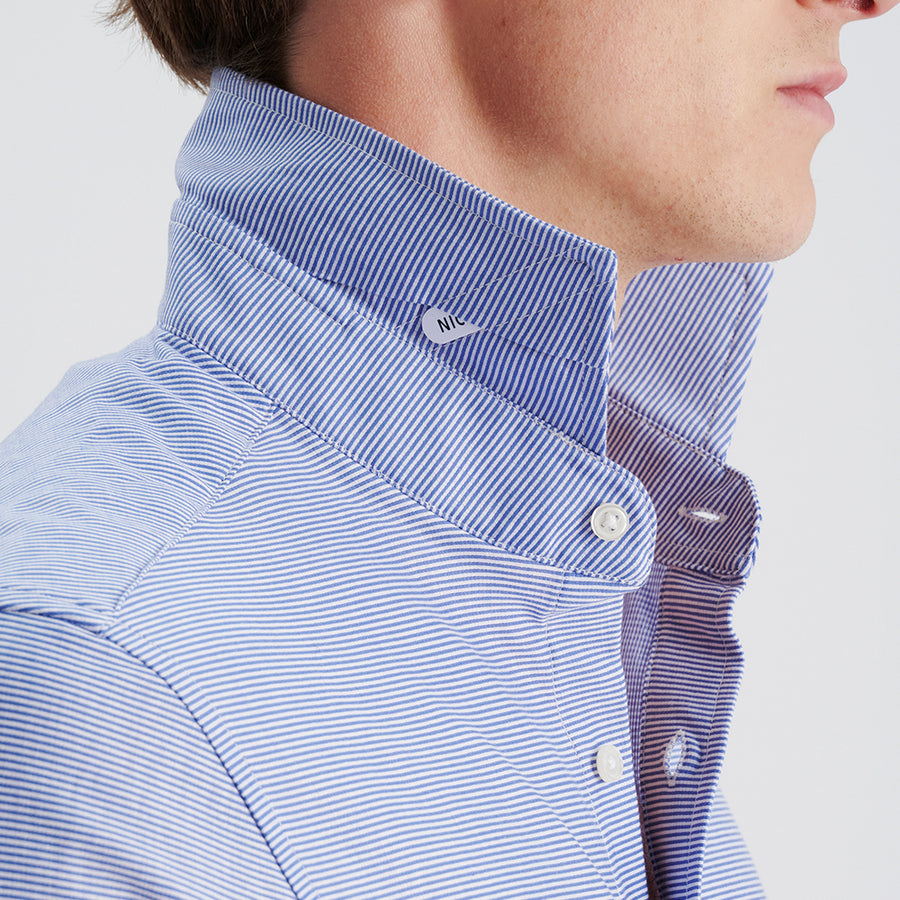 LONG SLEEVE NATURAL PERFORMANCE KNIT BUTTON DOWN SHIRT - NAVY STRIPE
