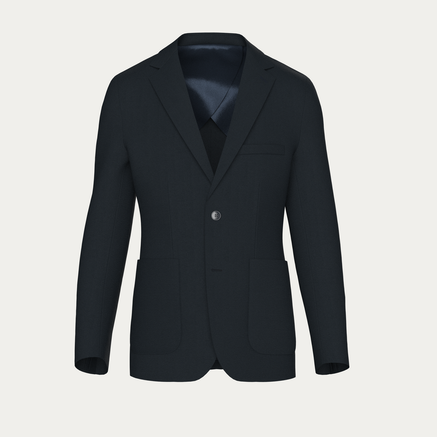 NATURAL PERFORMANCE KNIT STRETCH BLAZER - Navy