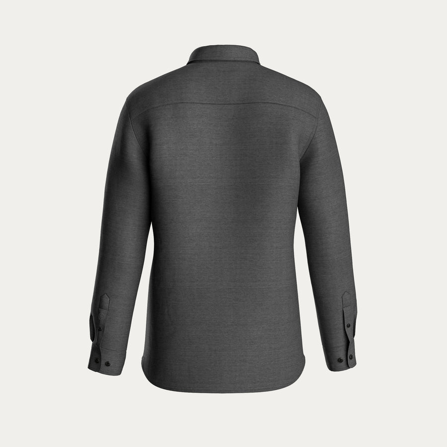 LONG SLEEVE KNIT STRETCH SHIRT - GREY