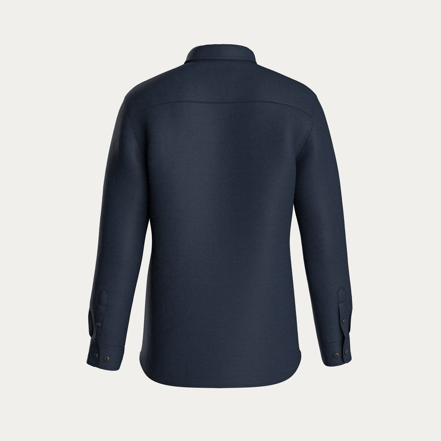 LONG SLEEVE KNIT STRETCH SHIRT - NAVY