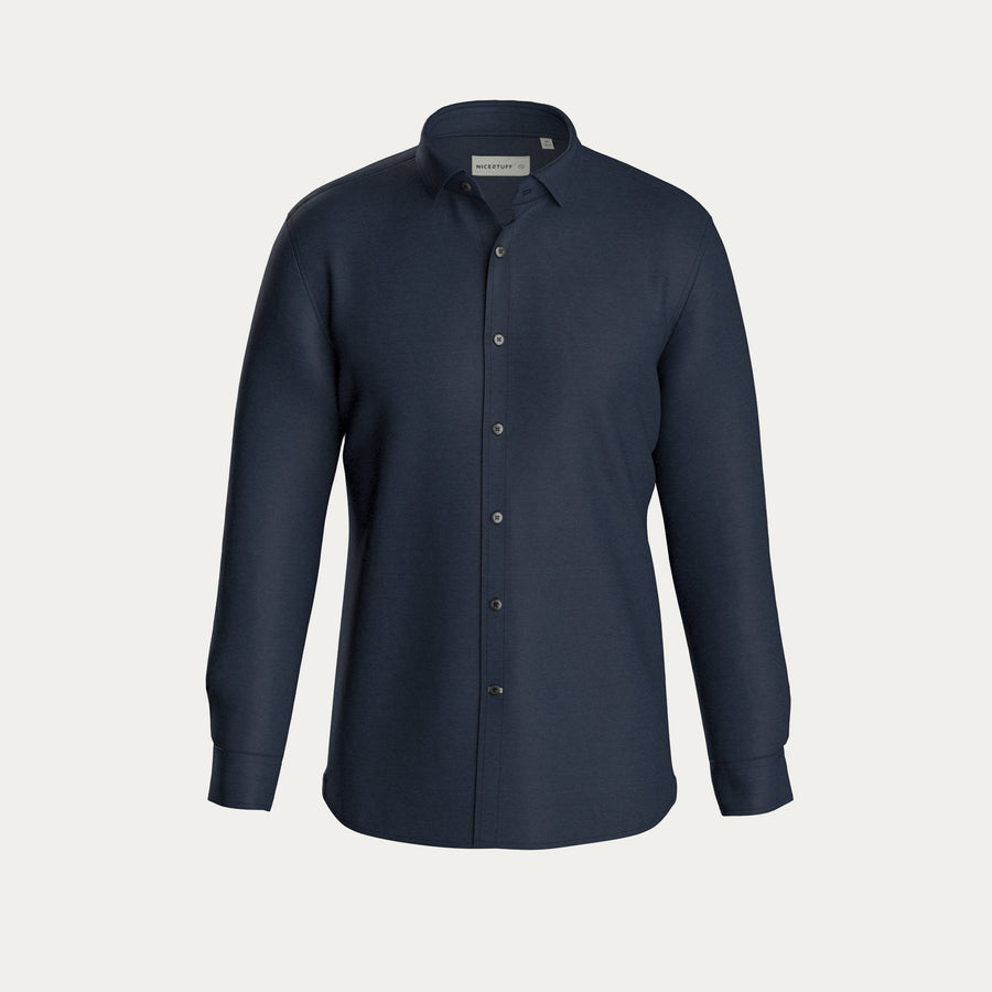 LONG SLEEVE NATURAL PERFORMANCE KNIT BUTTON DOWN SHIRT - NAVY