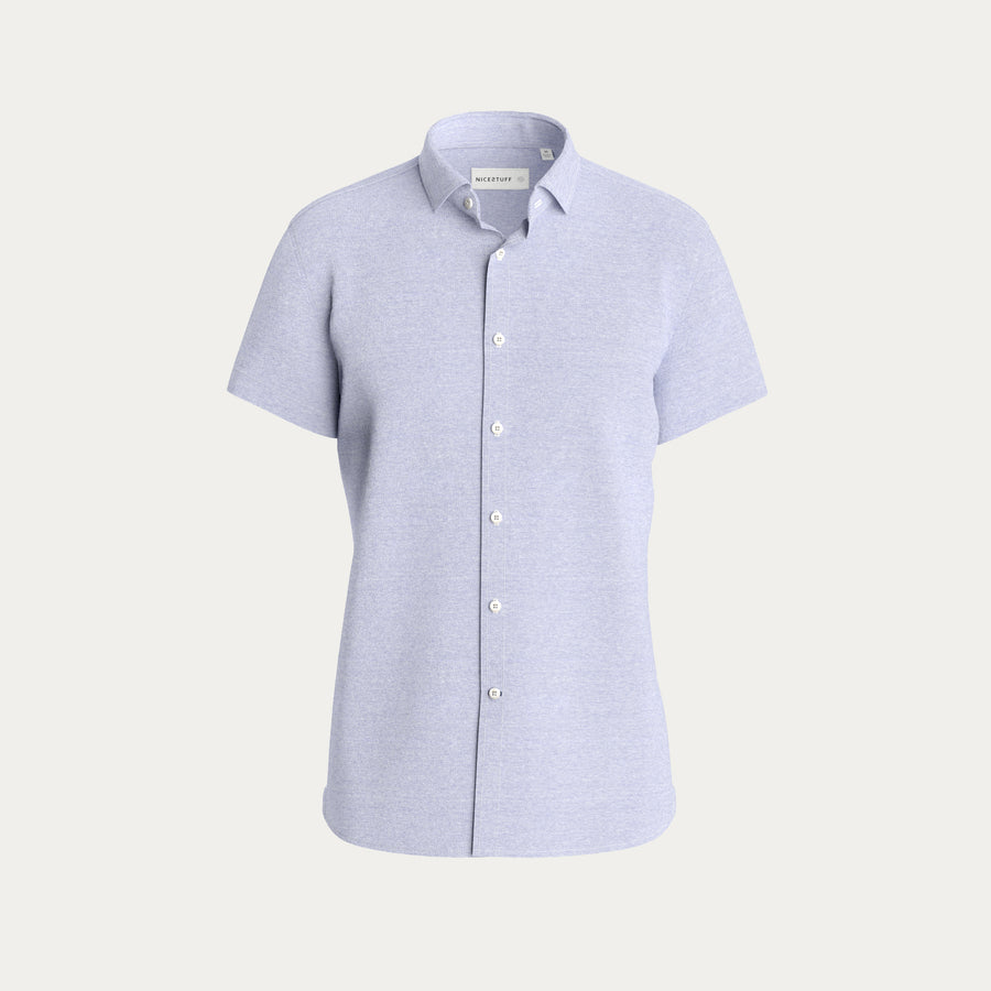 SHORT SLEEVE KNIT STRETCH SHIRT - LIGHT BLUE