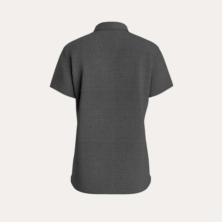 SHORT SLEEVE KNIT STRETCH SHIRT - GREY