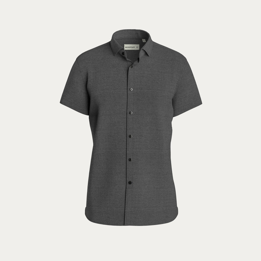 SHORT SLEEVE NATURAL PERFORMANCE KNIT BUTTON DOWN SHIRT - GREY