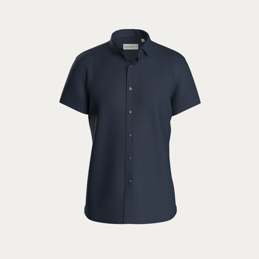 SHORT SLEEVE KNIT STRETCH SHIRT - NAVY