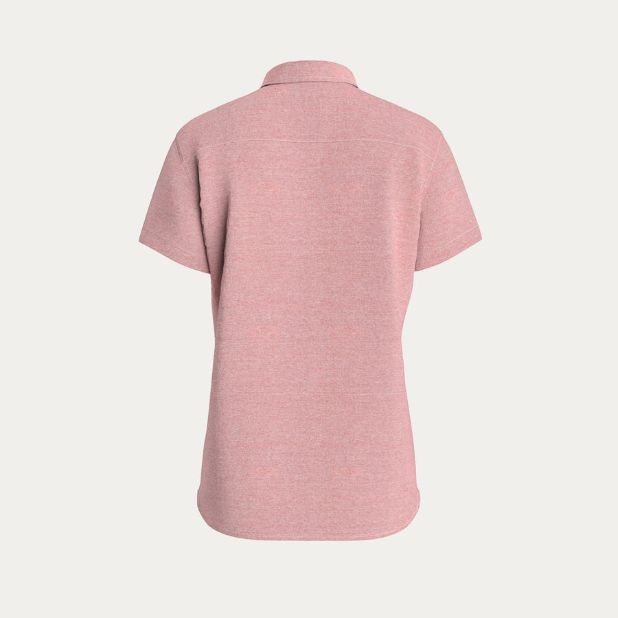 SHORT SLEEVE KNIT STRETCH SHIRT - RED