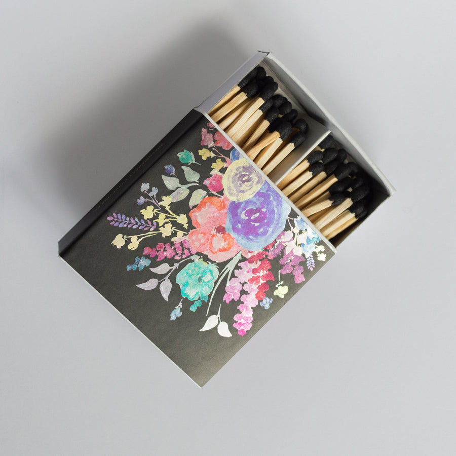 Metallic Floral - Square Matchbox