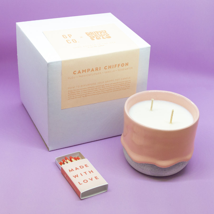 Campari Chiffon 10 oz. Drippy Pot Candle - GP Co. X Brian Giniewski's Drippy Pots