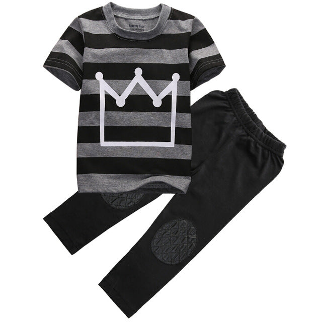 Striped Crown Pants Set - Kids Shoe Shack