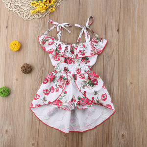 White Floral High-Low Romper - Kids Shoe Shack