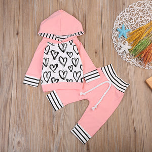 Polka Heart Hooded Sweatsuit Set - Kids Shoe Shack