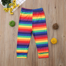 Load image into Gallery viewer, Rainbow Striped Skinny Leggings - Kids Shoe Shack