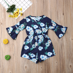 Flare Sleeve Floral Romper - Kids Shoe Shack