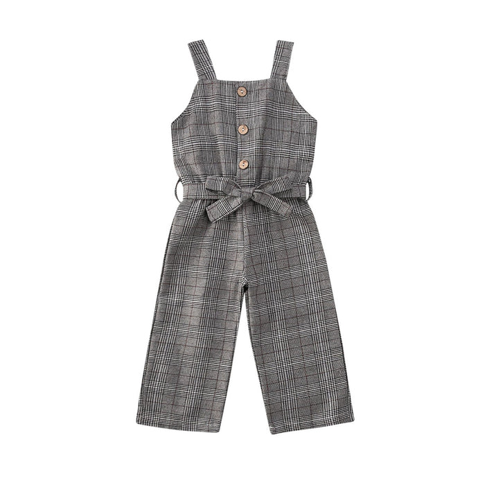 Grey Plaid Jumpsuit - Kids Shoe Shack