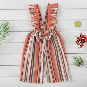 Bow-Knot Striped Jumpsuit - Kids Shoe Shack