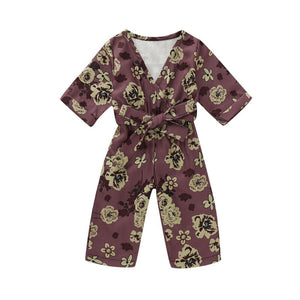 Long Sleeve Floral Jumpsuit - Kids Shoe Shack