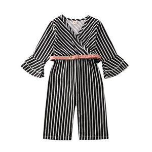 Striped Flare Sleeve Jumpsuit - Kids Shoe Shack