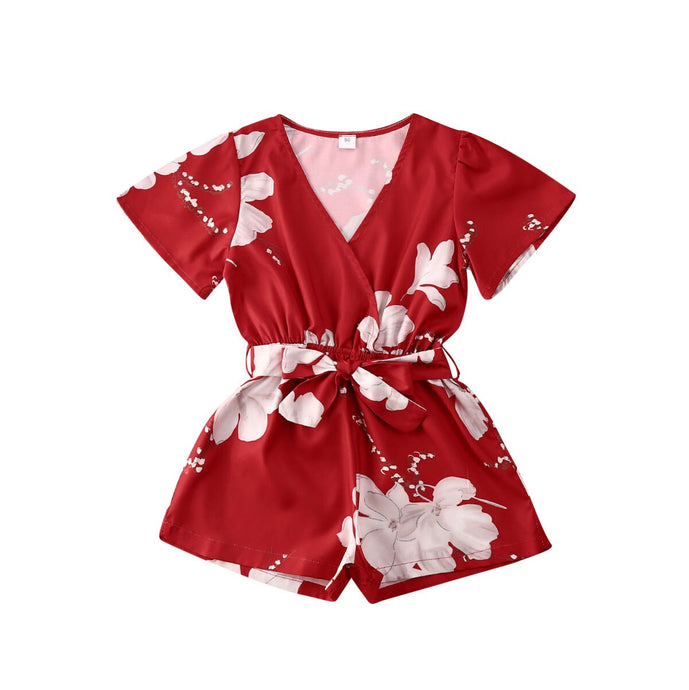 Red Floral Romper - Kids Shoe Shack