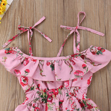 Load image into Gallery viewer, Pink Floral High-Low Romper - Kids Shoe Shack
