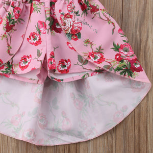 Pink Floral High-Low Romper - Kids Shoe Shack