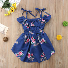 Load image into Gallery viewer, Blue Floral High-Low Romper - Kids Shoe Shack