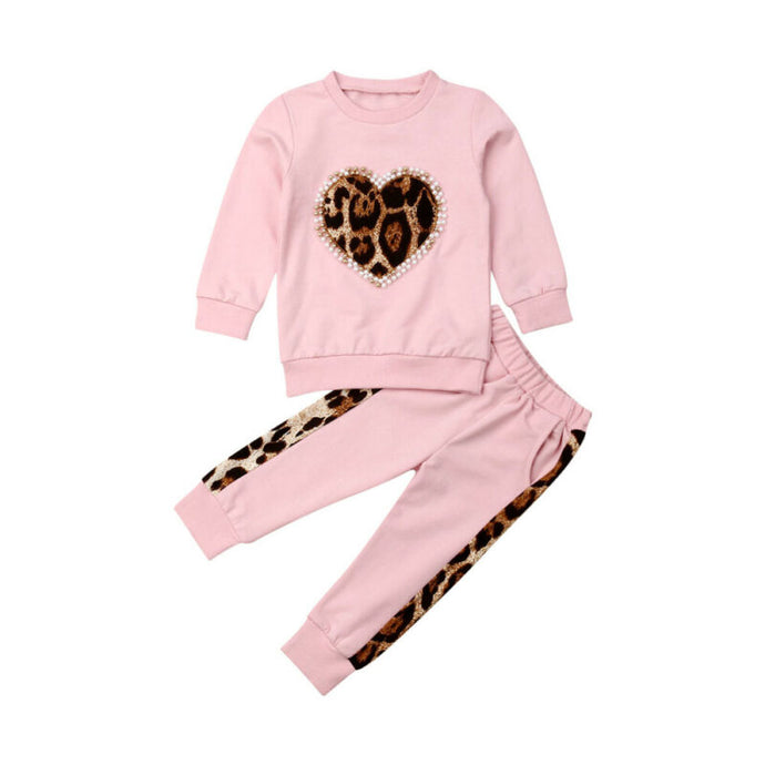 Leopard Print Heart sweatsuit - Kids Shoe Shack