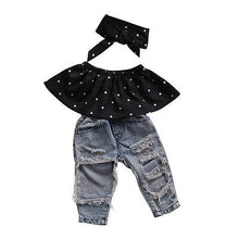 Load image into Gallery viewer, Polka Dot & Denim Pants Set - Kids Shoe Shack