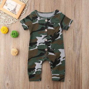 Short Sleeve Camo Button Jumpsuit - Kids Shoe Shack