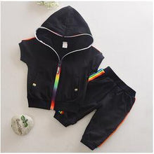 Load image into Gallery viewer, Rainbow Hooded Sweatshort Set - Kids Shoe Shack