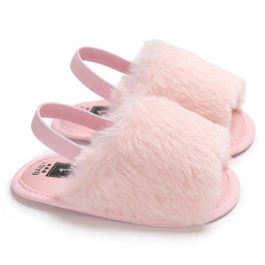 Caitlyn Faux Fur Sandal - Kids Shoe Shack